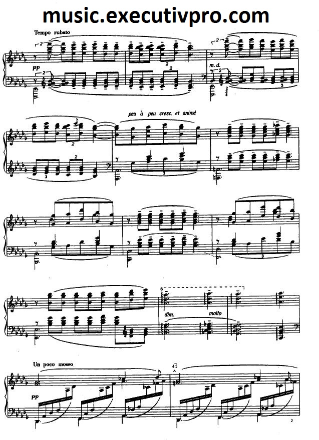 Piano free piano sheet music clair de lune : Free Piano Music Online Debussy Clair de lune sheet, page 2